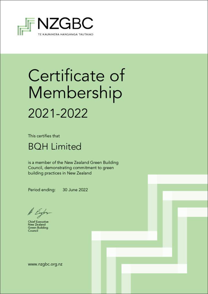 NZGBC Membership Certificate