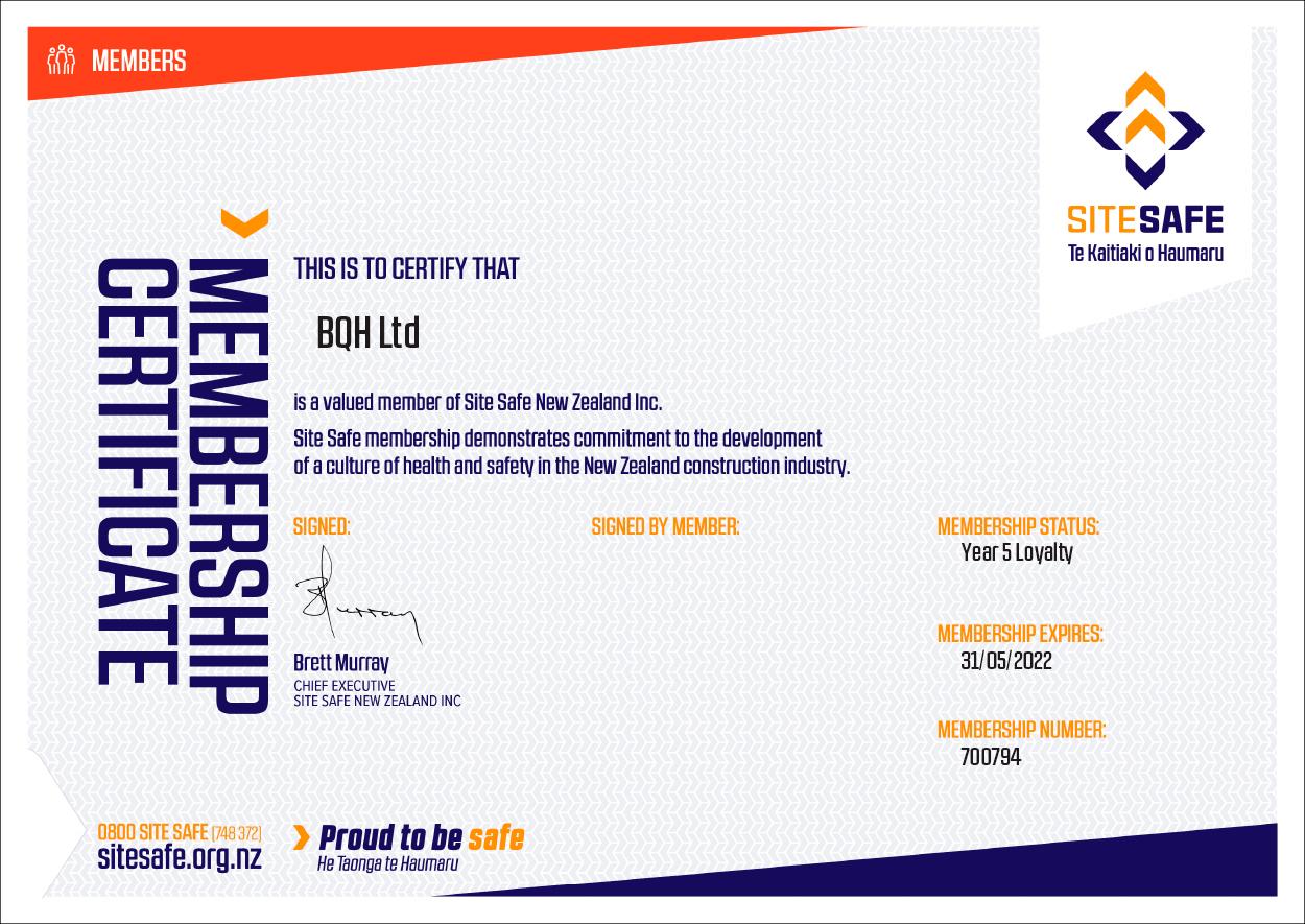 SiteSafe Company Certificate